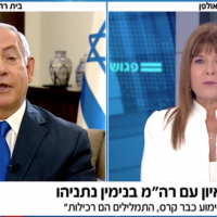 Prime Minister Benjamin Netanyahu is interviewed by Rina Mazliah on Channel 12, September 14, 2019. (Channel 12 screenshot)