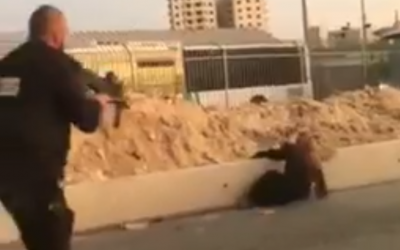 A security guard shoots dead a Palestinian woman after she pulled out a knife at the Qalandiya checkpoint in the central West Bank on September 18, 2019. (Screen capture)