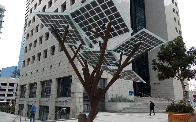Illustrative: A solar tree at the Tel Aviv Stock Excange compound. (Dr. Avishai Teicher / public domain)