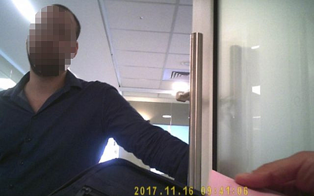 Photo taken of an employee outside Citrin Technologies office in Bnei Brak with a hidden camera by private investigations firm Dionaea Business Intelligence (Courtesy)
