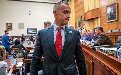 Corey Lewandowski, former campaign manager for US President Donald Trump, leaves the House Judiciary Committee room during a break in his testimony, Sept. 18, 2019, on Capitol Hill in Washington. (AP Photo/J. Scott Applewhite)