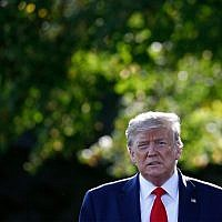 US President Donald Trump walks from the Oval Office to speak with reporters before departing on Marine One from the South Lawn of the White House, September 16, 2019, in Washington. (AP Photo/Patrick Semansky)