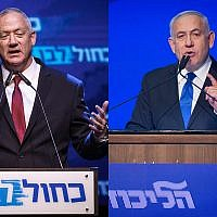Blue and White chairman Benny Gantz, left, and Prime Minister Benjamin Netanyahu, right, speak on election night in Tel Aviv at separate party events, September 18, 2019. (Miram Alster, Hadas Parush/Flash90)