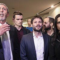 Rafi Peretz, left, Bezalel Smotrich, center, and Ayelet Shaked, right, at the Yamina party headquarters on election night in Ramat Gan, September 17, 2019. (Flash90)