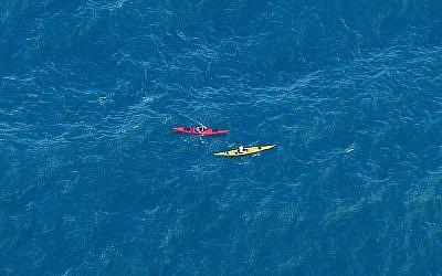 Illustrative: Kayakers in the Mediterranean Sea, July 21, 2010. (Moshe Shai/FLASH90)