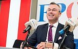 Norbert Hofer addresses the media during a press conference in Vienna, Austria, May 20, 2019. (AP Photo/Michael Gruber)