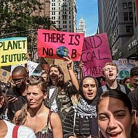 Climate change activists participate in an environmental demonstration as part of a global youth-led day of action, September 20, 2019, in New York. (AP Photo/Bebeto Matthews)