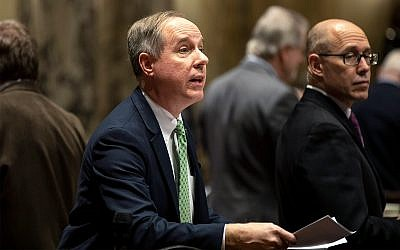 Wisconsin Assembly Speaker Robin Vos talks with fellow Assembly members at the state Capitol, in Madison, Wisconsin, January 22, 2019. (AP Photo/Andy Manis, File)