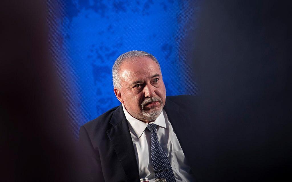 Yisrael Beytenu head Avigdor Liberman speaks at the National Labor Federation conference in Jerusalem, September 4, 2019. (Hadas Parush/Flash90)