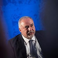 Yisrael Beytenu head Avigdor Liberman speaks at the National Labor Federation conference in Jerusalem, September 4, 2019. (Hadas Parush/Flash90)