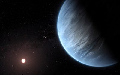 This artist's rendering shows Exoplanet K2-18b, foreground, its host star and an accompanying planet in this system. (M. Kornmesser/ESA/Hubble via AP)