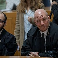 State attorney Uri Korb, right, at the Supreme Court in Jerusalem, February 8, 2018. (Yonatan Sindel/Flash90)