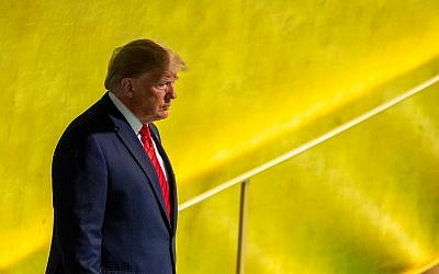 US President Donald Trump arrives to address the 74th session of the United Nations General Assembly at UN headquarters, September 24, 2019. (AP Photo/Mary Altaffer)