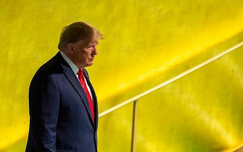 Illustrative: US President Donald Trump arrives to address the 74th session of the United Nations General Assembly at UN headquarters, September 24, 2019. (AP Photo/Mary Altaffer)