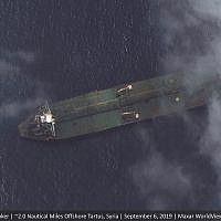 This Friday, Sept. 6, 2019 satellite image provided by Maxar Technologies appears to show the Iranian oil tanker Adrian Darya-1 off the coast of Tartus, Syria. (Satellite image ©2019 Maxar Technologies via AP)