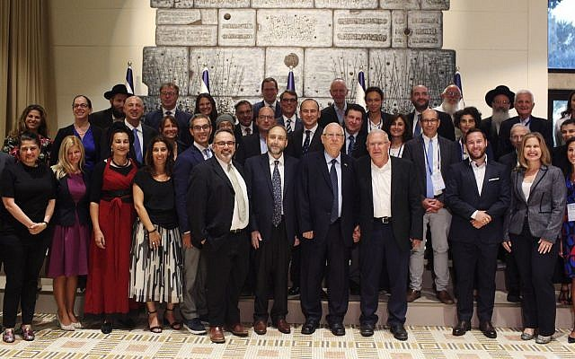 Jewish thought leaders and activists from around the world present the Declaration of Our Common Destiny to President Reuven Rivlin, September 10, 2019. (Avishag Shaar-Yashuv via JTA)