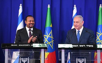 Prime Minister Benjamin Netanyahu (R) and Ethiopian Prime Minister Abiy Ahmed speak at a press conference at the Prime Minister's Office on September 1, 2019. (Amos Ben Gershom/PMO)