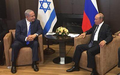 Benjamin Netanyahu, left, and Vladimir Putin meeting in Sochi, Russia on September 12, 2019. courtesy)