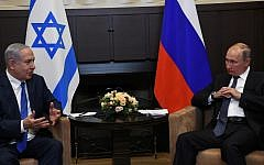PM Netanyahu, left, with Russian President Putin in Sochi, Russia, September 12, 2019 (Amos Ben Gershom/GPO)