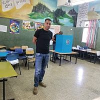 Arab Israeli voters at a polling station in Sakhnin on September 17, 2019. (Adam Rasgon/Times of Israel)
