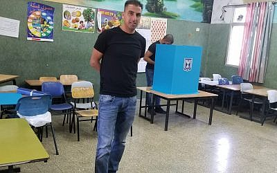 Arab Israeli voters at a polling station in Sakhnin on September 17, 2019. (Adam Rasgon/Times of Israel)