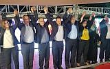 Joint List candidates celebrating the results of Channel 13's exit poll which initially projected the party would win 13 seats in the Knesset. (Adam Rasgon/Times of Israel)