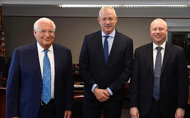 US Ambassador to Israel David Friedman, left, Blue and White chairman Benny Gantz, center, and US peace envoy Jason Greenblatt, right, meeting at the US Embassy's branch office in Tel Aviv on September 23, 2019. (Courtesy/Matty Stern/US Embassy Jerusalem)