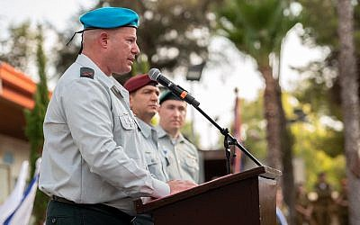 Incoming IDF Spokesperson Brig. Gen. Hidai Zilberman speaks at a ceremony in which he took over for outgoing spokesman Brig. Gen. Ronen Manelis on September 15, 2019. (Israel Defense Forces)