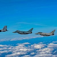 Israeli, German, Italian and British fighter jets fly together as part of the Royal Air Force's Cobra Warrior exercise in the United Kingdom in September 2019. (Israel Defense Forces)