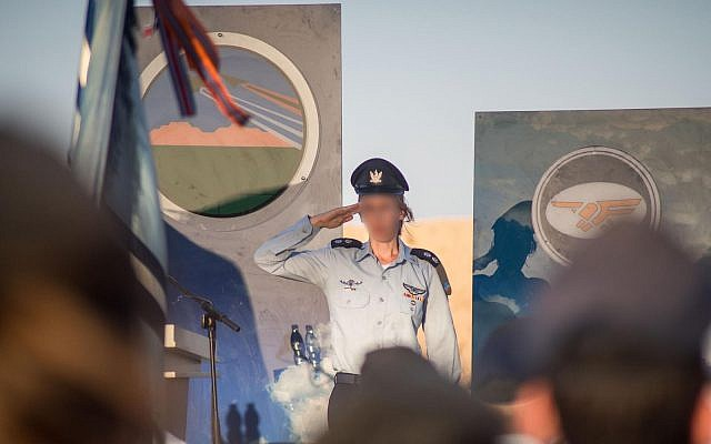 Lt. Col. Gimel takes command of the Israeli Air Force's Nachshon Squadron on September 24, 2019, making her the first woman to serve as a leader of a flight squadron. (Israel Defense Forces)