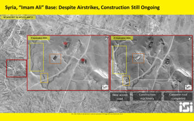 Satellite image showing ongoing construction at an alleged Iranian military base in Syria's Boukamal region, near the Iraqi border, on September 21, 2019. (ImageSat International)