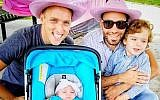 This undated photo provided by Immigration Equality shows Roee, left, and Adiel Kiviti, right, with their children newborn, Kessem and older brother Lev. (Courtesy of Adiel and Roee Kiviti/Immigration Equality via AP)