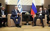 Likud minister Ze'ev Elkin (left) and Prime Minister Benjamin Netanyahu during a meeting with Russia's President Vladimir Putin, Septmber 12, 2019. (Shamil Zhumatov/Pool Photo via AP)