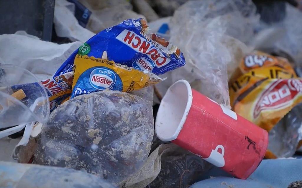 Plastic waste discarded on a beach in Israel. (Screenshot)