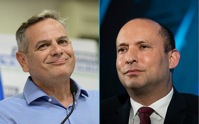 Nitzan Horovitz, leader of the left-wing Democratic Camp party (left), and MK Naftali Bennett of the right-wing Yamina (composite image: Flash90)