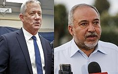 Composite picture of Blue and White leader Benny Gantz (right) at polling station in Rosh Haayin on September 17, 2019 and Yisrael Beytenu leader Avigdor Liberman (left) at Kibbutz Nahal Oz on September 12, 2019. (Jack Guez/Menahem Kahana, AFP)