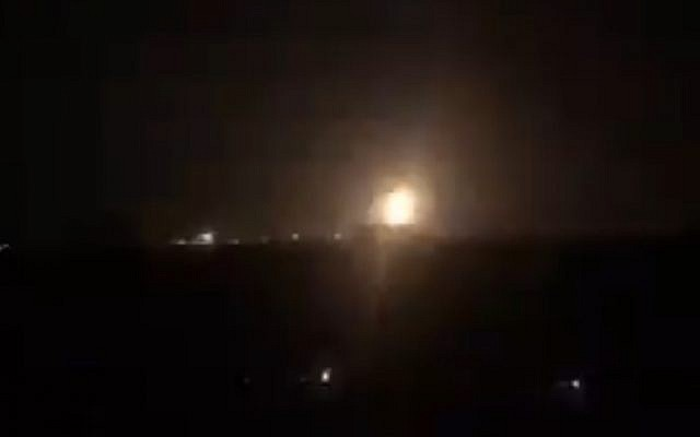 A still from a video purporting to show explosions in Gaza during Israeli airstrikes on September 7, 2019. (screen capture: Twitter)