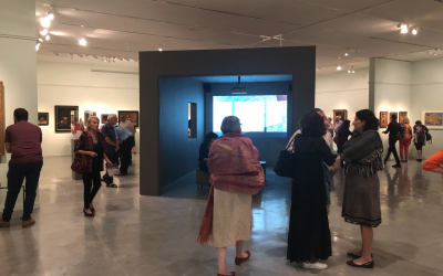 The opening night of 'Fateful Choices: Art from the Gurlitt Trove,' the long-awaited exhibit of the Gurlitt collection at the Israel Museum, on September 23, 2019. (Courtesy, Jessica Steinberg)