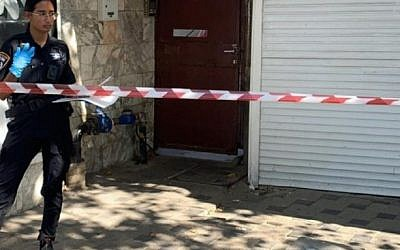 The scene in Haifa where a man died after a fall from a building, apparently during a botched burglary on September 21, 2019 (Police Spokesperson)