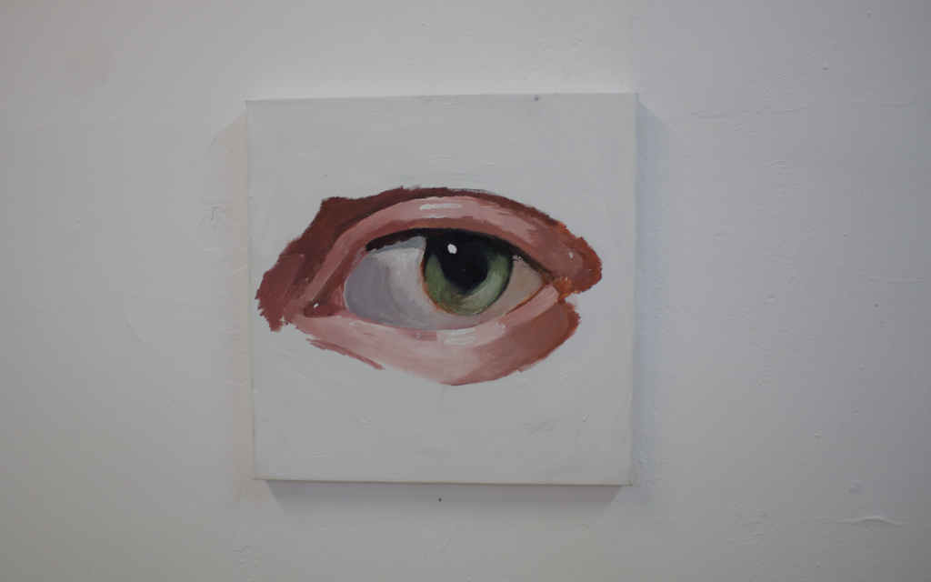 An eye painted by Lama Watad as part of her final HaMidrasha exhibit at Beit Berl College (Hannah Harnest)
