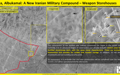 Satellite image showing the construction of a new Iranian military base in Iraq's Albukamal Al-Qaim region, near the Syrian border (ImageSat International via Fox News)