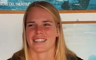 Israeli windsurfer Katy Spychakov after taking the silver medal at the RS:X World Championships at Lake Garda in Italy, September 28, 2019 (Screen grab via Kan)