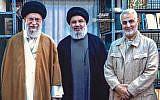 An image published on Ali Khamenei's official website on September 25 showing Khamenei, the Iranian supreme leader, left, alongside Hezbollah chief Hassan Nasrallah, center, and Islamic Revolutionary Guards Corps Quds Force commander Qassem Soleimani. (Khamenei.ir)