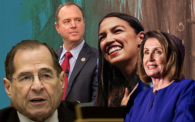 From right to left: US House Speaker Nancy Pelosi (D-CA), Rep. Alexandria Ocasio-Cortez (D-NY), House Intelligence Committee Chairman Adam Schiff (D-CA) and House Judiciary Committee Chairman Jerrold Nadler. (Getty Images via JTA)