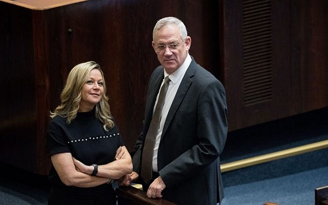 Miki Haimovich with Blue and White party leader Benny Gantz at the Knesset in Jerusalem, June 3, 2019. (Yonatan Sindel/ Flash90/File)