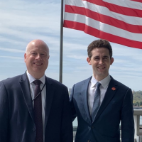 Outgoing US Middle East envoy Jason Greenblatt is seen with successor Avi Berkowitz  in an April photo (Twitter)