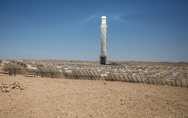 View of the Ashalim solar power station in the Negev desert,  June 19, 2018. (Miriam Alster/FLASh90)