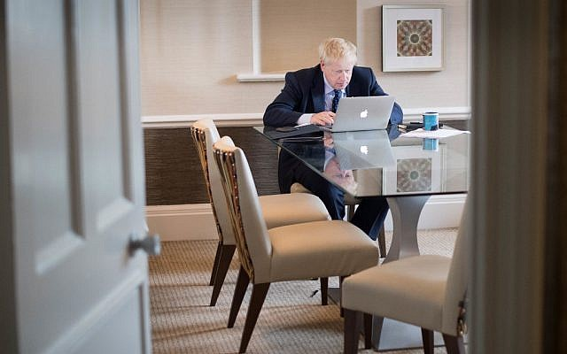 Britain's Prime Minister Boris Johnson prepares his keynote speech for the annual Conservative Party conference in Manchester, northwest England, on October 1, 2019 which he'll deliver on the final day on October 2. (Stefan Rousseau / POOL / AFP)