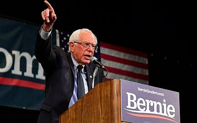 In this photo taken on July 25, 2019 Democratic presidential hopeful and Vermont US Senator Bernie Sanders speaks on stage during a Town Hall event at the Aratani Theater in Los Angeles, California. (Frederic J. Brown/AFP)