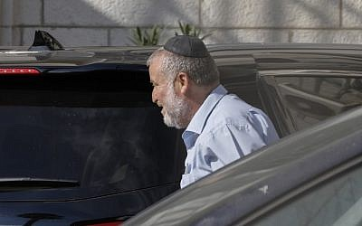 Attorney General Avichai Mandelblit arrives at Justice Ministry headquarters in Jerusalem for the start of Prime Minister Benjamin Netanyahu's pre-indictment hearings in a series of corruption cases, on October 2, 2019. (Menahem Kahana/AFP)